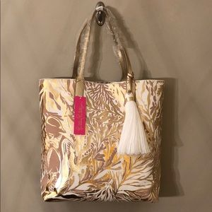 Lilly Pulitzer Gold Turtley Awesome Tote Reversibl
